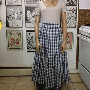 Vintage Plaid Pleated Maxi Skirt